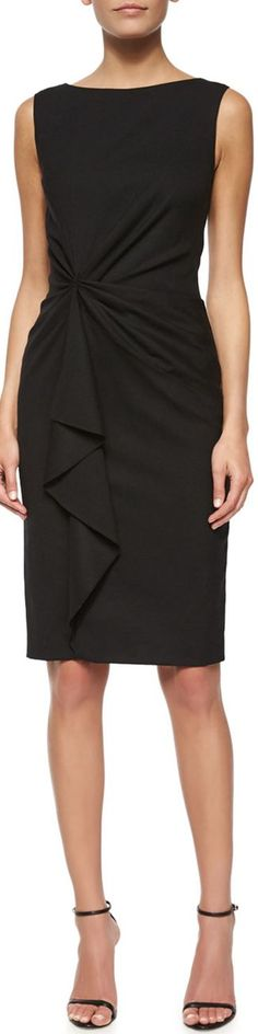 Carolina Herrera Faux-Wrap Ruffled Sheath Dress