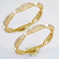 Pearl and Diamond bangle bracelets
