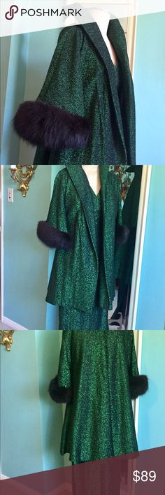 "Vintage 1960s green metallic fur dress swing coat Vintage mid century jacket dress set in emerald green metallic thread, high posable collar and 3/4 sleeves cuffed in fur. Cape lined in black satin with matching dress! In great vintage condition, a loose thread here or there, a little bit of wear on inside of collar from hanger(see pic). No tag. Chest of dress 32 "" waist 26 "" with length 51 "". Side slit on bottom is very sexy about 20 "" from bottom hem. This collectors item deserves to be on…"