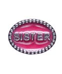 """Beaded Spacer, SISTER - Both sides of this .925 sterling silver spacer have a beaded rim and the word """"SISTER"""" embedded in fuchsia enamel.  Please note:  This item does not fit on braided leather bracelets or necklaces."""