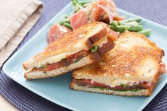 Heirloom Tomato & Fontina Grilled Cheese Sandwiches with Dijon-Dressed Summer Vegetables. Visit https://www.blueapron.com/ to receive the ingredients.