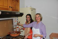 Chef Angela Carlino and her cousin, Marisa, making a Zuppa di Pesce (Fish Stew).