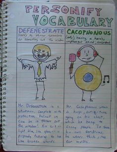 Personifying Vocabulary is a wonderful writer's notebook challenge.  If you visit this page, check out the student samples at the bottom of the page.