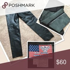 Genuine leather pants New , no tags, never worn  buttery soft black leather pants. Side zip, flat front, no pockets. Lined to the knee. Never hemmed. Inseam 33 inches. Size 8, runs a bit more narrow through the hips. Biker Dream Apparel Pants Trousers