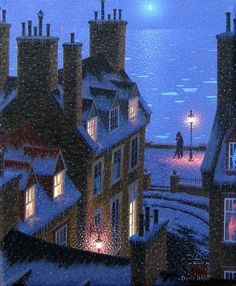 'Night Tango in Paris'  by contemporary Canadian painter Denis Nolet (1964). Preferring moonlight to sunlight, Nolet paints scenes saturated with the romance of the night.