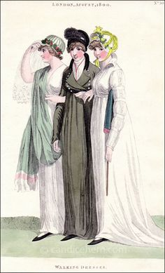 Walking and Riding Dresses, August 1800 via Candice Hern (fashion print) – Style is art Jane Austen, Regency Dress, Regency Era, 1800s Fashion, Vintage Fashion, Fashion Goth, French Fashion, Victorian Fashion, Ladies Fashion