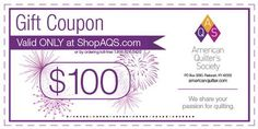 American Quilter's Society $100 Gift Coupon