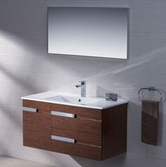 Adornus Yasmine 40 inch Wenge Wall Mounted Bathroom Vanity, All Wood Vanity in High Gloss White and Wenge, Wall Hung, Ceramic Top with Integrated Basin, Matching Mirror Included Discount Bathroom Vanities, Wood Vanity, Basin, Home Furnishings, Wall Mount, Living Spaces, Mirror, High Gloss, Cape