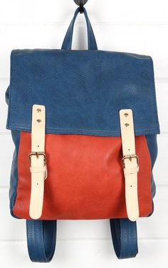 Leatherette Buckle Backpack BLUE