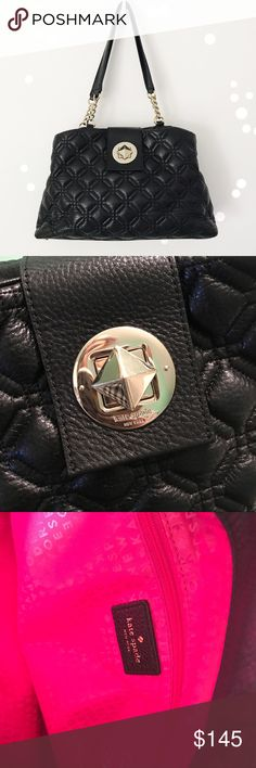 Kate Spade Black Quilted Leather Elena Tote Bag Adorable black cow leather Elena Astor Court quilted handbag from Kate Spade. Great condition! Some scratching on lock. Interior in overall good condition. Small pen marking in one area as pictured. Retails at $395. No trades! kate spade Bags