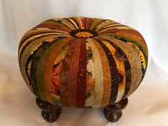 tuffet in fall colors Ottoman Stool, Round Ottoman, Tufted Ottoman, Bohemian House, Bohemian Decor, Bohemian Style, Repurposed Furniture, Painted Furniture, Home Projects