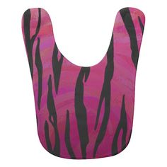 Tiger Hot Pink and Black Print Baby Bib #PinkAndBlackObsession