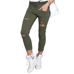 f0cb8c402881 Women Ripped Pants Holes Pencil Stretch Pants Casual Denim Skinny Jeans  Trousers  fashion  clothing  shoes  accessories  womensclothing  jeans  (ebay link)