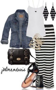 Striped maxi skirt, white tank, denim jacket, black sandals, black handbag | Cute Outfit