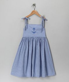 Take a look at this Royal Blue Gingham Anchor Dress - Infant, Toddler & Girls by Katie & Co. on #zulily today!