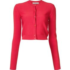 Carolina Herrera cropped cardigan (57.375 RUB) ❤ liked on Polyvore featuring tops, cardigans, red, red top, carolina herrera, red crop top, cropped cardigan and cut-out crop tops