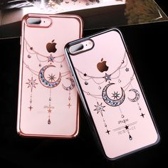 Swarovski Stars & Moon Diamond Case For iPhone 7/ 7 Plus Luxury Plated Hard PC Clear Back Cover | iPhone Covers Online