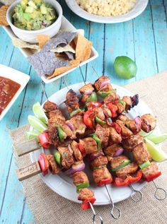 Chipotle Lime Chicken Fajita Skewers - Little Leopard Book