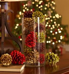 coloured pine cones for decoration