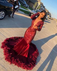 Looking for Prom Dresses,Evening Dresses in Sequined, Mermaid style, and Gorgeous Beading,Feathers work? Babyonlinewholesale has all covered on this elegant Burgundy V-neck Long sleeve Sequined Mermaid Velvet Fur Prom Dresses. Black Girl Prom Dresses, African Prom Dresses, Senior Prom Dresses, Cute Prom Dresses, Prom Outfits, Mermaid Prom Dresses, Formal Dresses, Prom Dresses Long Sleeve, African Formal Dress