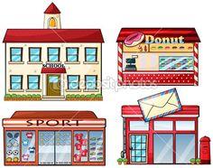Szkoła, cukierka sklep, sklep sportowy i poczta — Grafika wektorowa © interactimages #18833241