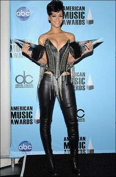 #Rihanna showing off her awards and that killah bustier!  #AvantGarde fashion