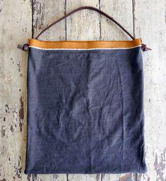 denim-leather feed bag with shoulder strap - large