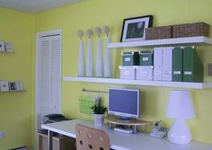 Office - shelves above desk