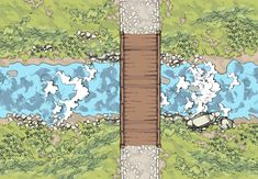 A risky river-crossing makes an excellent place for an ambush. Consider supporting the artist on Patreon! Virtual Tabletop, Tabletop Rpg, Dire Bear, Diorama, Adventure Company, Dungeon Maps, Fantasy Map, Fantasy Setting, Image Editor