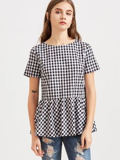 Black And White Checkered Bow Split Back Peplum Top -SheIn(Sheinside)