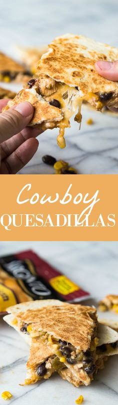 This Cowboy Quesadilla is loaded up with a BBQ Chicken, a black bean Texas caviar and lots of fresh off the block, melty cheese! Perfect for dinner time, this dish will please the whole family! #ad
