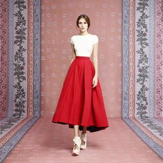 Ulyana Sergeenko skirt and bodysuit from Demi Couture collection