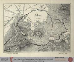 Χάρτης Αθηνών 1888 *** Baumgarten, Fritz Ein Rundgang durch die Ruinen Athens Leipzig, 1888