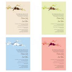 The ever popular love bird wedding invitations