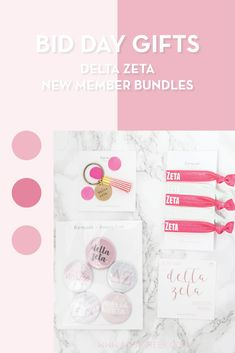 Create the perfect Bid Day gift pack for your Delta Zeta new members! Choose from three gift bag options: Newbie Love, Pref Present or Spoiled. Delta Zeta Gifts | Delta Zeta Bid Day | DZ New Member Gifts | DZ Rush Gift Bags | Delta Zeta Recruitment | Sorority Bid Day | Sorority Recruitment | Bid Day Bags | Sorority New Member Gift Ideas #BidDayGifts #SororityRecruitment Sorority Bid Day, Sorority Recruitment, Chi Omega Recruitment, Sorority Names, Sorority Gifts, College Sorority, Bid Day Gifts, Alpha Sigma Alpha, Delta Gamma