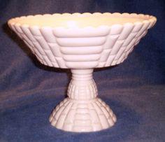 Vintage Pink Jeannette Milk Glass Footed Fruit Bowl Compote