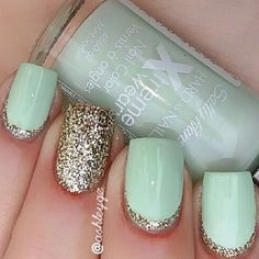 Spring-Summer Nail Polish. Sally Hasen Xtreme Wear in MINT SORBET + Gold Glitter~Sally Hansen Salon Perfect in GOLDEN RULE.