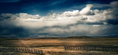 clouds, snow fences, & rolling fields = wyoming