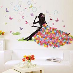 Buy Flower Fairy Girl Blow Bubbles Wall Decals Sticker Vinyl Mural DIY Room Decor at Wish - Shopping Made Fun Decoration Stickers, Wall Stickers Home Decor, Wall Stickers Murals, Wall Decal Sticker, Diy Wall Decor, Vinyl Wall Decals, Wall Murals, Wall Decorations, Art Decor