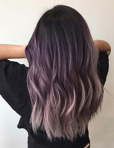 20 Breathtaking Purple Ombre Hair Color Ideas Purple hair has become one of the biggest trends in the scene. Here are few breathtaking purple ombre hair color ideas for you to to try at home. Lilac Hair, Hair Color Purple, Hair Dye Colors, Cool Hair Color, Color Black, Lavender Grey Hair, Ombre Color, Purple Hair Dyes, Nice Hair Colors