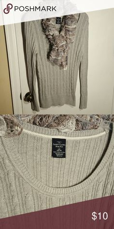 NWT gray sweater size L Gray sweater Size L 12-14 100% organic cotton  Handmade scarf sold separately. Message me for pricing. Sweaters Crew & Scoop Necks