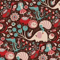 Helen Dardik pattern - fairy tale circus. I would use this in a baby room, it's so whimsical.
