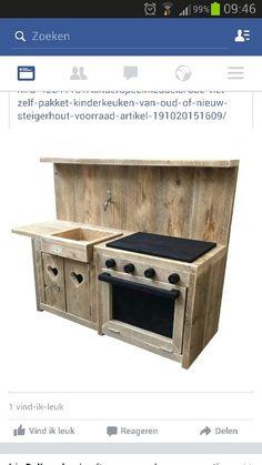 Mooi Diy Kids Kitchen, Mud Kitchen, Backyard Furniture, Kids Furniture, House Trim, Wood Toys, Play Houses, Doll Houses, Kitchen Styling