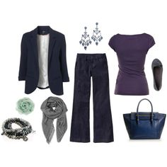 Blue & grey for work, created by lonelyspiral.polyvore.com