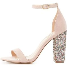 Charlotte Russe Two-Piece Glitter-Heel Sandals (78 BRL) ❤ liked on Polyvore featuring shoes, sandals, nude, nude heeled sandals, buckle sandals, ankle strap sandals, block heel sandals and evening shoes