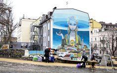 """On the Grid :: Mural graffiti """"Vidrodzhennia"""", Podil, Kyiv"""