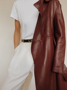 Dorothee Schumacher Volumes Leather Coat , Julie Josephine White T-Shirt , Matin Studio White Trousers , Ferragamo Leather Belt Look Fashion, Fashion Outfits, Campus Style, Designer Leather Jackets, Black Wool Coat, Celebrity Outfits, Casual Elegance, Coat Dress, Street Chic