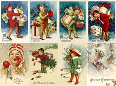 "Stickers (8pics 2.5""x3.5""each) FLONZ Craft 441-0223 Vintage Christmas Kids Gifts 