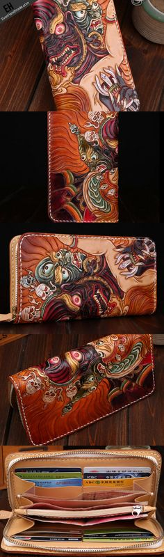 Handmade leather Chinese devil wallet leather zip men clutch Carved Tooled wallet
