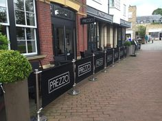 Cafe Barrier Installation for Prezzo. #prezzo #cafe #cafebarriers #banners #canvas #cafebanners #brandline